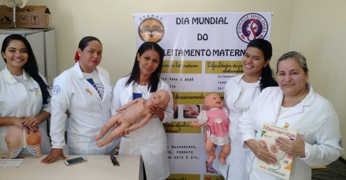 Alunos de Fonoaudiologia da Esamaz participam de ação alusiva ao Dia Mundial do Aleitamento Materno