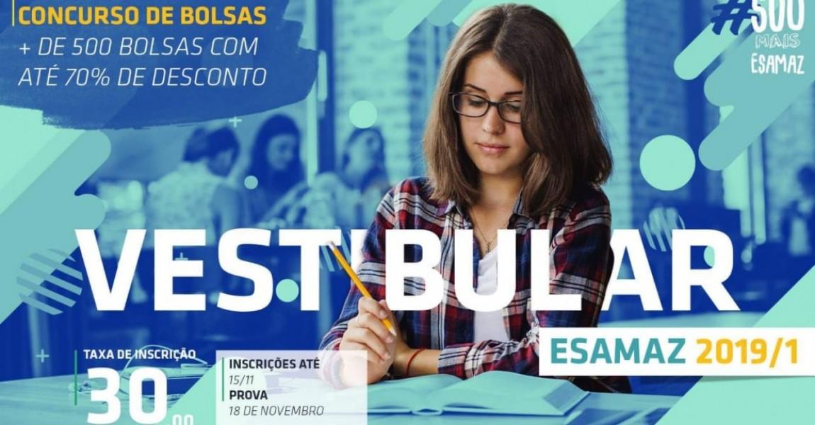 Esamaz abre inscrições para o Vestibular 2019/1 . Prova será no dia 18 de novembro