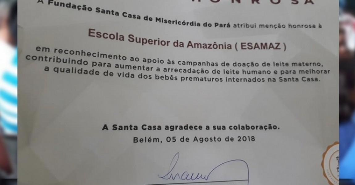 Esamaz recebe menção honrosa da Fundação Santa Casa por contribuir nas campanhas de aleitamento materno