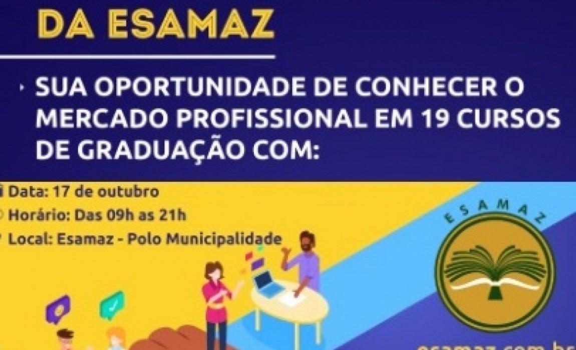 Feira das Profissões da Esamaz vai ofertar inscrição gratuita para o Vestibular e sorteio de 3 bolsas integrais