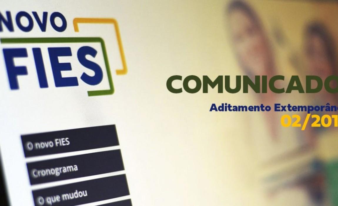 Novo Fies - Comunicado Aditamento Extemporâneo 02/2019