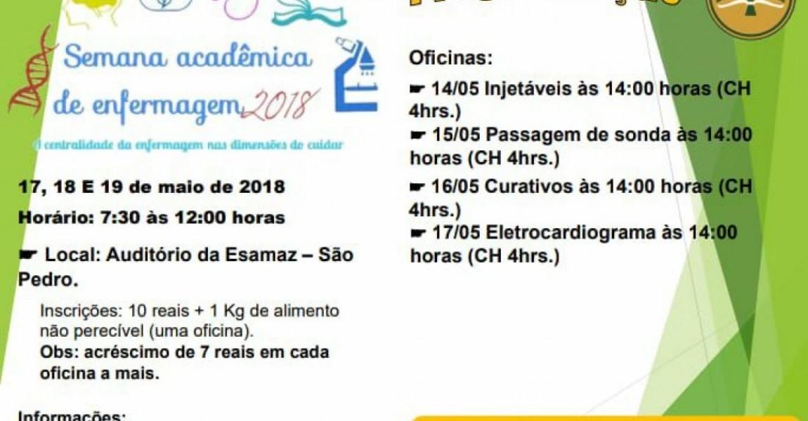 Semana Acadêmica de Enfermagem começa nesta quinta-feira, dia 17, na Esamaz