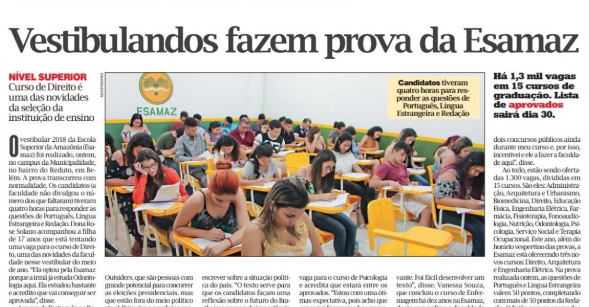 Vestibular da Esamaz é destaque na edição desta segunda(28) no Jornal O Liberal