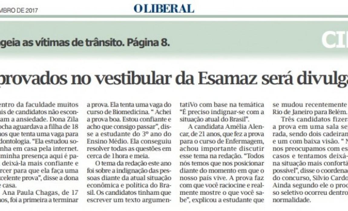 Vestibular da Esamaz é destaque no Jornal O Liberal